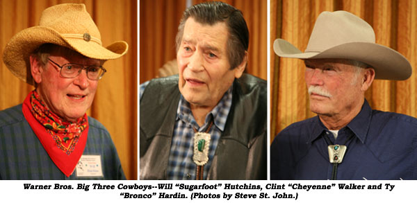 "Warner Bros. Big Three Cowboys--Will ""Sugarfoot"" Hutchins, Clint ""Cheyenne"" Walker and Ty ""Bronco"" Hardin. (Photos by Steve St. John.)"