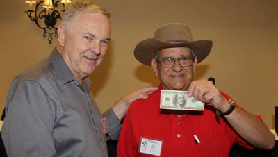 Don Ellis of Birmingham, AL, was the winner of the annual trivia contest and receives $100 from festival co-sponsor Boyd Magers.