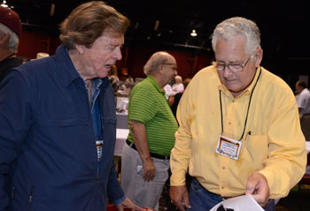 Edd Byrnes and John Buttram in deep discussion. Festival promoter Ray Nielsen in the background.