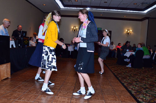 Everyone had fun dancing to '50s and '60s rock 'n' roll played by DJ Alex Ward (left).