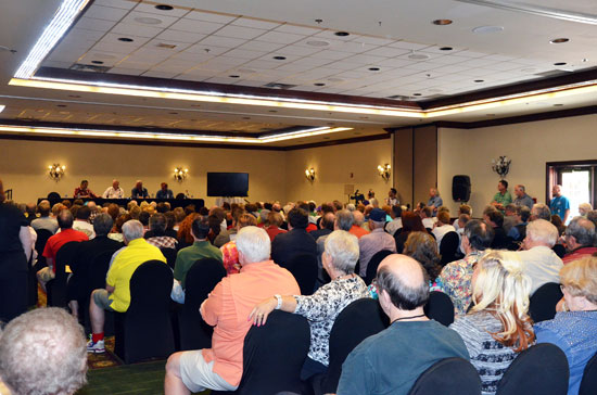 "Above and below, the panel discussions are always a highlight of ""A Gathering of Guns"". To a packed room, this one featured Clint Walker, Robert Colbert and Edd Byrnes, moderated by festical sponsor Boyd Magers."