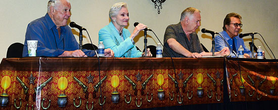"""Time Tunnel"" panel discussion with Robert Colbert, Lee Meriwether and James Darren. Moderator is Boyd Magers of WESTERN CLIPPINGS."