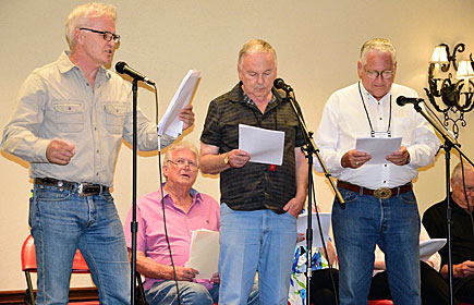 "This year's radio show recreation was an episode of ""Six-Shooter"". Jeff Osterhage recreated the role of Jimmy Stewart. Others in the cast shown here were Don Collier (seated), Boyd Magers, John Buttram, Robert Colbert."