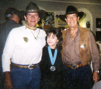 "Peter Brown of TV's ""Lawman"", Caren Marsh, leading lady to Bob Steele in ""Navajo Kid"" and Don Durant, star of TV's ""Johnny Ringo"" at a Ray Courts autograph show in Los Angeles. Durant died March 15, 2005."