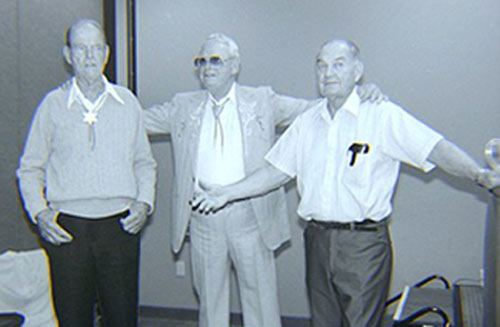 Three old Republic friends gather at the Knoxville, TN, Western Film Festival in 1990. Tom Steele, Rex Allen, director Bill Witney. (Courtesy Grady Franklin)