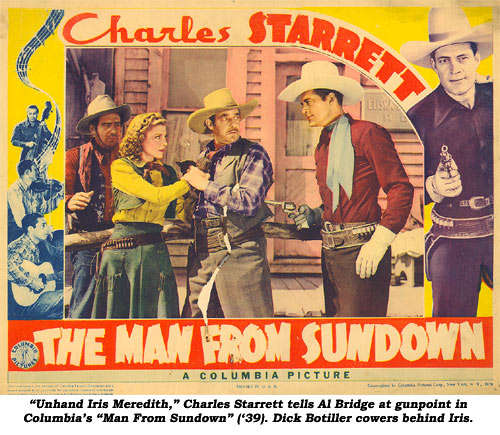 """Unhand Iris Meredith,"" Charles Starrett tells Al Bridge at gunpoint in Columbia's ""Man From Sundown"" ('39). Dick Botiller cowers behind Iris."