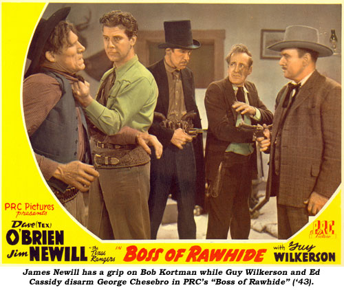 "James Newill has a grip on Bob Kortman while Guy Wilkerson and Ed Cassidy disarm George Chesebro in PRC's ""Boss of Rawhide"" ('43)."