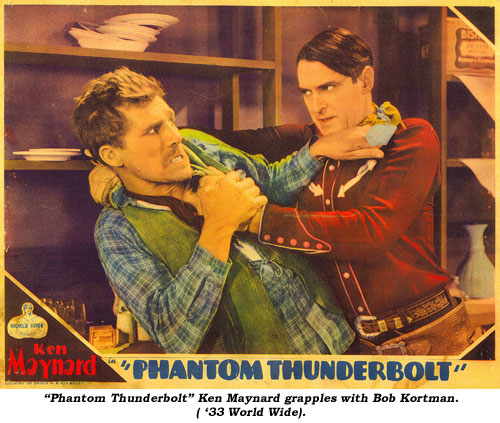 """Phantom Thunderbolt"" Ken Maynard grapples with Bob Kortman ('33 World Wide)."