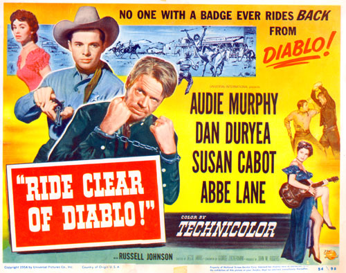 "Title card for ""Ride Clear of Diablo"" starring Audie Murphy and Dan Duryea."