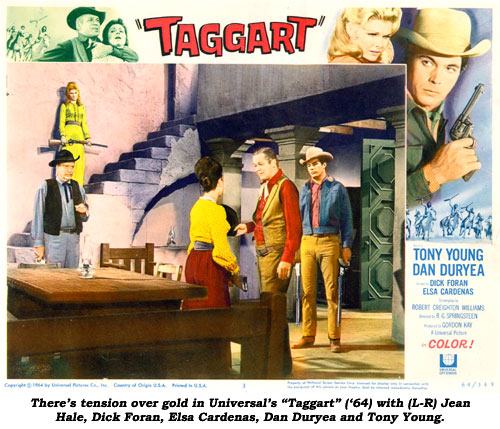 "There's tension over gold in Universal's ""Taggart"" ('64) with (L-R) Jean Hale, Dick Foran, Elsa Cardenas, Dan Duryea and Tony Young."