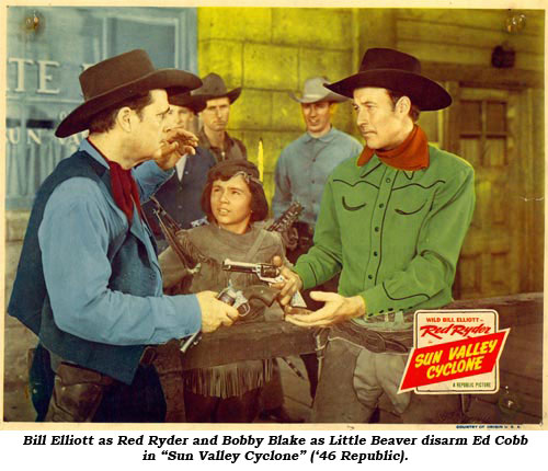 "Bill Elliott as Red Ryder and Bobby Blake as Little Beaver disarm Ed Cobb in ""Sun Valley Cyclone"" ('46 Republic)."