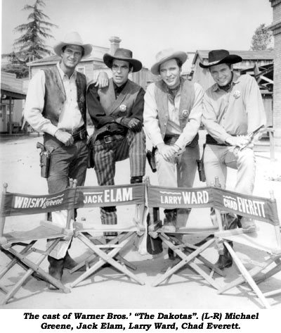 "The cast of Warner Bros.; ""The Dakotas"". (L-R) Michael Greene, Jack Elam, Larry Ward, Chad Everett."