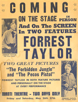 Forrest Taylor Personal Appearance Poster.
