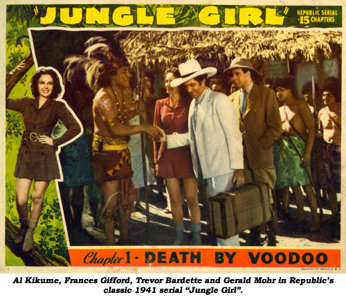 "Al Kikume, Frances Gifford, Trevor Bardette and Gerald Mohr in Republic's classic 1941 serial ""Jungle Girl""."