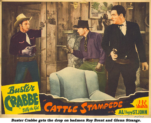 Buster Crabbe gets the drop on badmen Roy Brent and Glenn Strange.