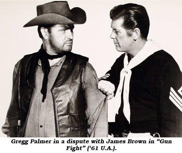 "Gregg Palmer in a dispute with James Brown in ""Gun Fight"" ('61 U.A.)."