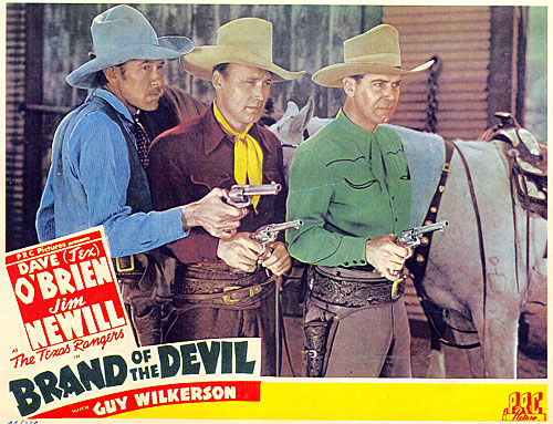 "Guy Wilderson, Dave O'Brien and James Newill in ""Brand of the Devil""."