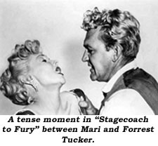"A tnese moment in ""Stagecoach to Fury"" between Mari and Forrest Tucker."