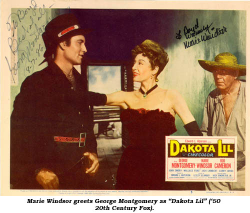 "Marie Windsor greets George Montgomery as ""Dakota Lil"" ('50 20th Century Fox)."