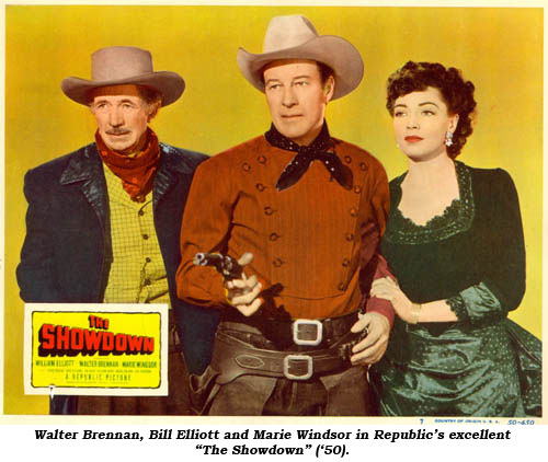 "Walter Brennan, Bill Elliott and Marie Windsor in Republic's excellent ""The Showdown"" ('50)."