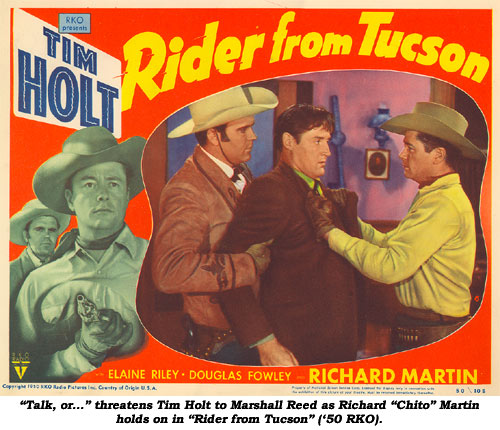 """Talk or..."" threatens Tim Holt to Marshall Reed as Richard ""Chito"" Martin holds on in ""Rider from Tucson"" ('50 RKO)>"