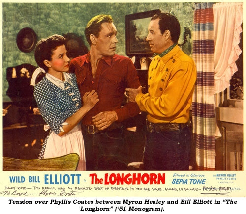 "Tension over Phyllis Coates between Myron Healey and Bill Elliott in ""The Longhorn"" ('51 Monogram)."