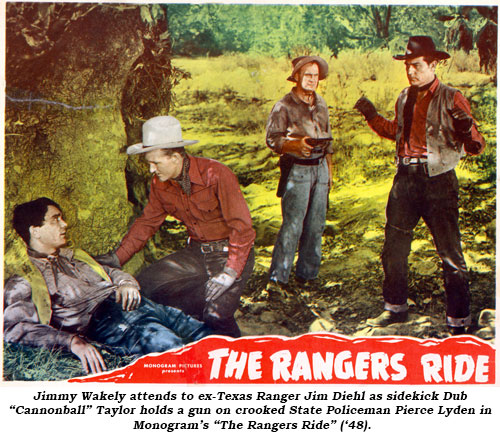 "Jimmy Wakely attends to a wounded man as sidekick Dub ""Cannonball"" Taylor holds a gun on loutlaw Pierce Lyden in Monogream's ""The Rangers Ride"" ('48)."