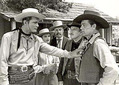 "Just two of the serials in which Pierce Lyden worked--""Captain Video"" ('51 Columbia) seen here with Judd Holdren and Larry Stewart and ""Son of Zorro"" ('47 Republic) with George Turner, Peggy Stewart, Mike Frankovitch and Ed Cassidy."