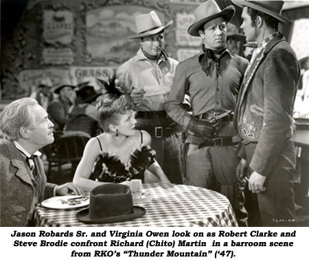 "Jason Robards Sr. and Virginia Owen look on as Robert Clarke and Steve Brodie confront Richard (Chito) Martin in a barroom scene from RKO's ""Thunder Mountain"" ('47)."