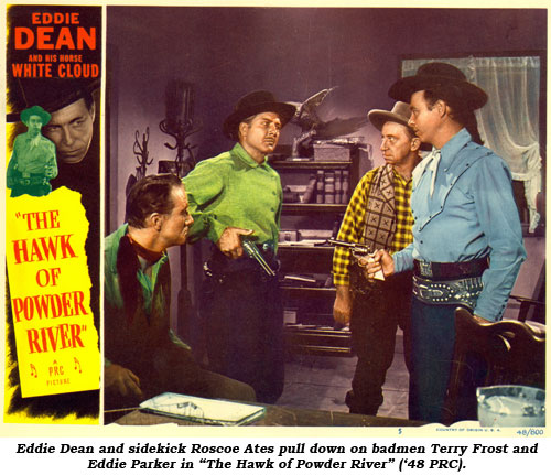 "Eddie Dean and sidekick Roscoe Ates pull down on badmen Terry Frost and Eddie Parker in ""The Hawk of Powder River"" ('48 PRC)."