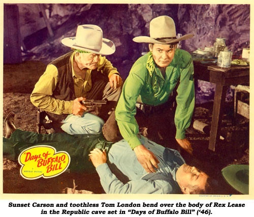 "Sunset Carson and toothless Tom London bend over the body of Rex Lease in the Republic cave set in ""Days of Buffalo Bill"" ('46)."