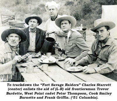 "To trackdown the ""Fort Savage Raiders"" Charles Starrett (center) enlists the aid of (L-R) old frontiersman Trevor Bardette, West Point cadet Peter Thompson, Cook Smiley Burnette and Frank Griffin ('51 Columbia)."