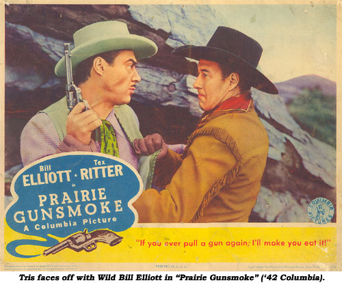 "Tris Coffin faces off with Wild Bill Elliott in this lobby card from  ""Prairie Gunsmoke"" ('42 Universal)."