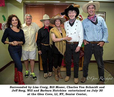 On July 30 at the Glen Cove, LI, NY, Senior Center, Will and Barbara Hutchins (second and third from right) and friends entertain.