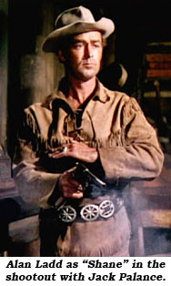 "Alan Ladd as ""Shane"" in the shootout with Jack Palance."