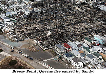 Breezy Point, Queens fire caused by Sandy.