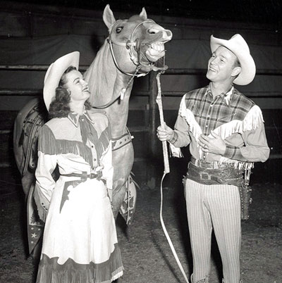 Dale Evans and Roy Rogers with Trigger.