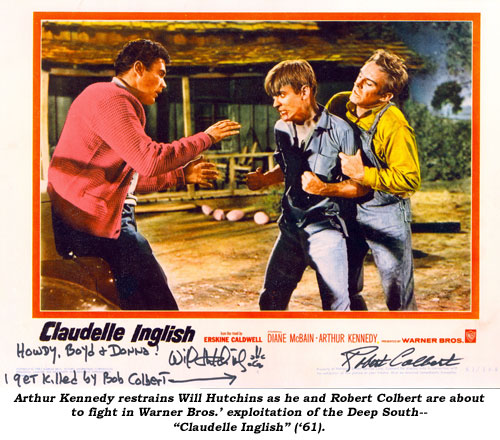 "Arthur Kennedy restrains Will Hutchins as he and Robert Colbert are about to fight in Warner Bros.' exploitation of the Deep South--""Claudelle Inglish"" ('61)."