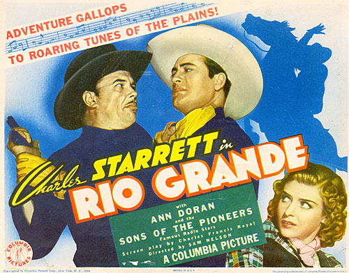 "Title Card for ""Rio Grande"" starring Charles Starrett and Ann Doran."