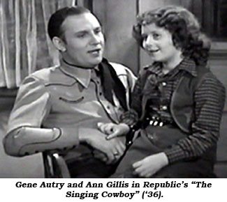"Gene Autry and Ann Gillis in Republic's ""The Singing Cowboy"" ('36)."