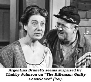 "Argentina Brunetti seems surprised by Chubby Johnson on ""The Rifleman: Guilty Conscience"" ('62)."