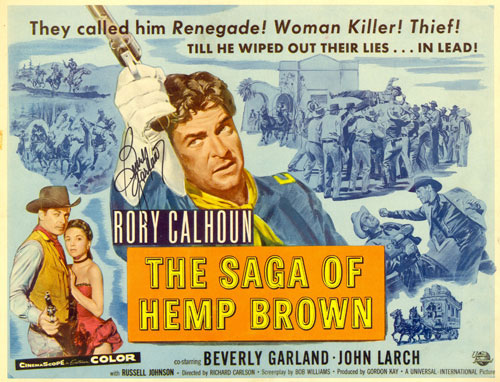 "Title Card from ""The Saga of Hemp Brown"" starring Rory Calhoun and Beverly Garland."