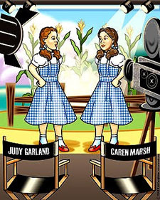 "Cartoon drawing of Judy Garland with her stand-in Caren Marsh both dressed as Dorothy in the ""Wizard of Oz""."