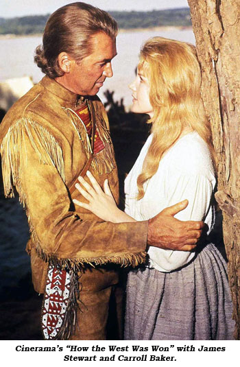 "Cinerama's ""How the West Was Won"" with James Stewart and Carroll Baker."