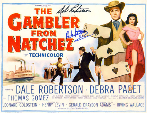 "Title card for ""The Gambler from Natchez"" starring Dale Robertson and Debra Paget."