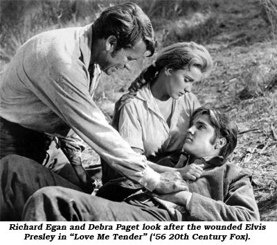 "Richard Egan and Debra Paget look after the wounded Elvis Presley in ""Love Me Tender"" ('56 20th Century Fox)."