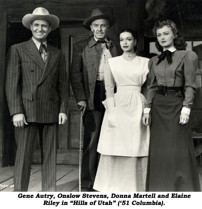 "Gene Autry, Onslow Stevens, Donna Martell and Elaine Riley in ""Hills of Utah"" ('51 Columbia)."