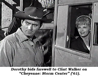 "Dorothy bids farewell to Clint Walkjer on ""Cheyenne: Storm Center"" ('61)."