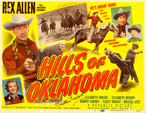 "Title card for ""Hills of Oklahoma"" starring Rex Allen and Elizabeth Fraser."