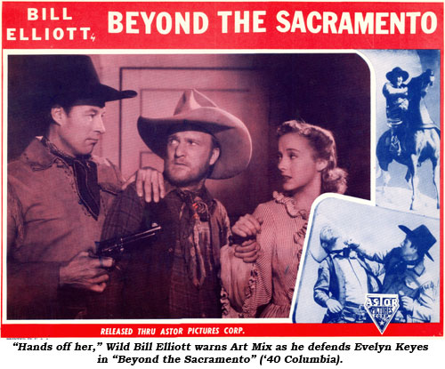"""Hands off her,"" Wild Bill Elliott warns Art Mix as he defends Evelyn Keyes ""Beyond the Sacramento"" ('40 Columbia)."
